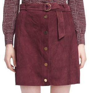 NWOT Kate Spade genuine suede snap-front skirt